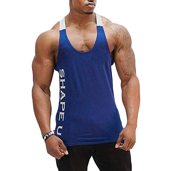 POQOQ Tee Shirt Bodybuilding Sport Fitness Vest Men's Sleeveless Tank Top